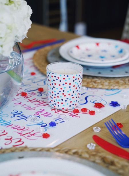 4th of july home decor candle tablescape  Target finds red white and blue  #LTKhome #LTKSeasonal #LTKunder50