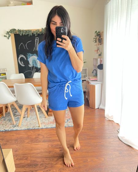 Amazon Summer fashion try-on ☀️  Head over to my Instagram for full try-on details.   Two-piece set comes in tons of color and print options! This is the blue, the color looks more navy online but is more of a royal blue in person. Runs tts, I'm wearing size small. Shorts are a great length and higher rise!   Travel outfit, two piece set, loungewear, romper look, Amazon fashion, Amazon finds, summer fashion, summer travel, comfy clothes   http://liketk.it/3hS0j    @liketoknow.it #liketkit #LTKunder50 #LTKtravel #LTKsalealert
