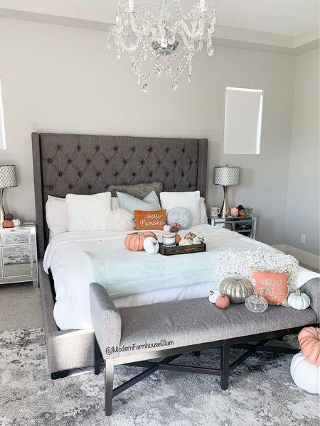 Fall decor master bedroom at ModernFarmhouseGlam   #LTKhome #LTKHoliday #LTKSeasonal