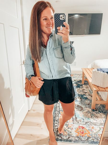 Summer but make it fall! Love me some paper bag shorts paired with my fav long sleeve chambray top. Sandals are on sale and should be worn til the snow flies   #LTKSeasonal #LTKunder50 #LTKstyletip