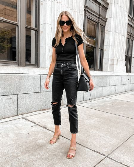 These black ripped jeans and Henley bodysuit are SO comfortable and both under $100 from Abercrombie. Perfect summer date night look   #LTKunder100 #LTKstyletip #LTKunder50