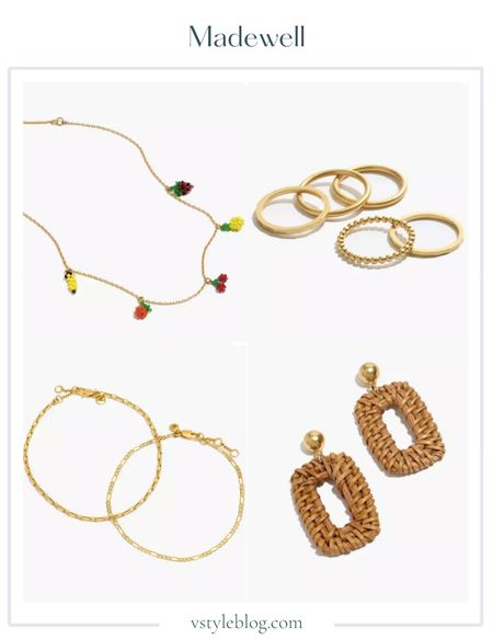 Wedding Guest Jewelry, Summer Jewelry, Gold Jewelry, Rattan Jewelry, Necklace, Rings, Anklets, Earrings, LTK Day, Sale Alert  Beaded Fruit Chain Necklace ($39.50 - 15% off with code SUNFUN), Simple Stacking Ring Set ($26), Two-Pack Chain Anklet Set ($26), Rattan Statement Earrings ($32)  #LTKunder50 #LTKsalealert #LTKDay