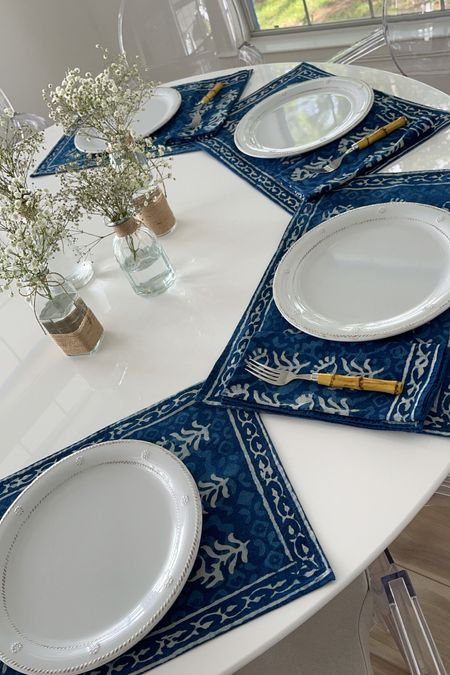 Breakfast at Still Waters 💙 Indigo blockprint placemats and napkins, bamboo flatware, Juliska Melamine dinner plates and the sweetest glass and twine bud vases filled with baby's breath   #LTKhome #LTKstyletip #LTKunder50