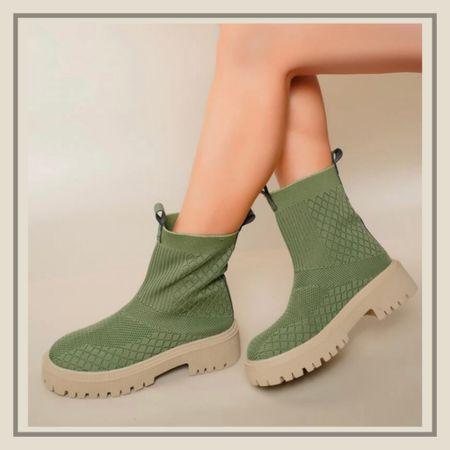 Slip on chunky knit boots  #LTKshoecrush #LTKunder50 #LTKstyletip