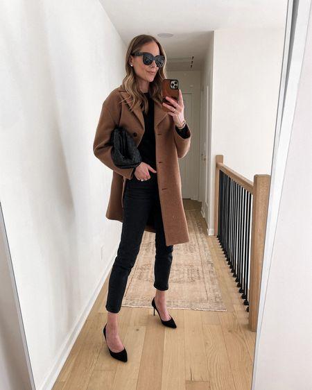Camel coat, black sweater, black jeans, black pumps, #falloutfit #datenight #businesscasual #camelcoat #sweaters   #LTKshoecrush #LTKsalealert #LTKstyletip