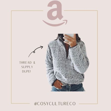 This Thread & Supply dupe is a steal from Amazon! I love Sherpa sweaters for fall 🤍  #amazoncanada   #LTKstyletip #LTKSeasonal #LTKunder50