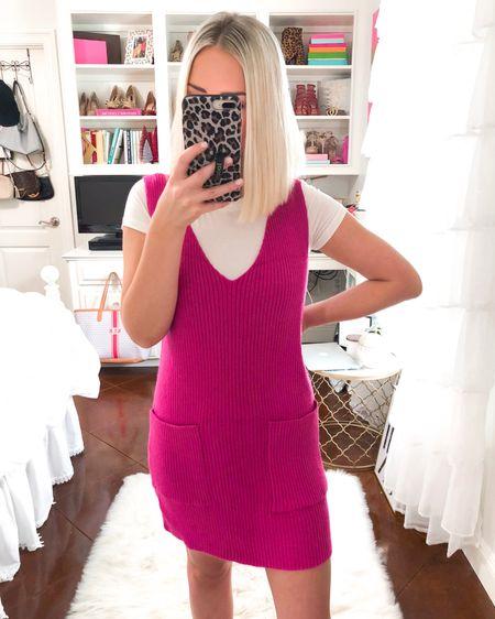 $26 Ribbed v neck sweater dress!! Wearing a small. In more colors!! http://liketk.it/2Ekde @liketoknow.it #liketkit #LTKsalealert #LTKunder50