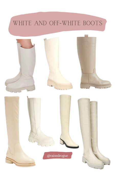 Since you all loved my Louise et Cie boots (pictured bottom left corner), I thought I'd share some other off-white boot styles!   Note that the beige boots (upper right corner) are only available in UK and EU.  Sizing:  I typically wear a women's US 9 or 9.5. I wear the Louise et Cie style in a 9.5.     #LTKSeasonal #LTKshoecrush #LTKunder100