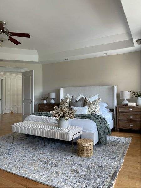 Master Bedroom ✨ bed, bedding, rug, nightstands, blanket, throw pillows,   #LTKhome