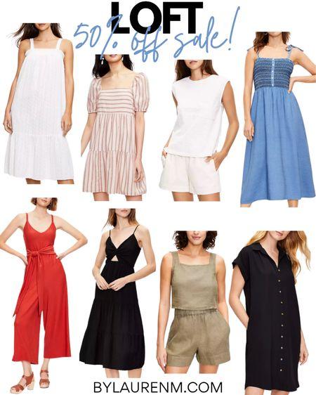 Loft 50% off site wide sale! Sundresses, matching sets, lounge set, linen set, jumpsuit, mini dress, midi dress. Cute summer outfit options! @liketoknow.it http://liketk.it/3hPyV #liketkit #LTKsalealert #LTKunder50 #LTKunder100