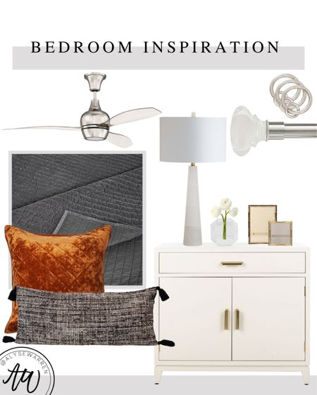 My bedroom details are things that look expensive, but are affordable!   Bedroom inspiration, acrylic ceiling fan, Pottery Barn curtain rod with crystal finial, crystal vase, picture frame, euro pillow, lumbar pillow, pick-stitch quilt, bedside chest, oversized nightstand, table lamp, Amazon home finds, Wal Mart home finds, sheet set, duvet cover, bedding, TJ Maxx, Alice Lane inspired   #LTKhome