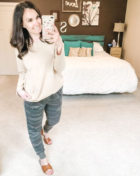 I'm not complaining about my daily outfits being loungewear at all!! These camo joggers are the best! Also found these long sleeve boyfriend tees and they're great for transitioning into warmer weather. These cognac sandals are on sale today!!   http://liketk.it/2NnBl #liketkit @liketoknow.it #LTKsalealert #LTKshoecrush #StayHomeWithLTK Shop my daily looks by following me on the LIKEtoKNOW.it shopping app