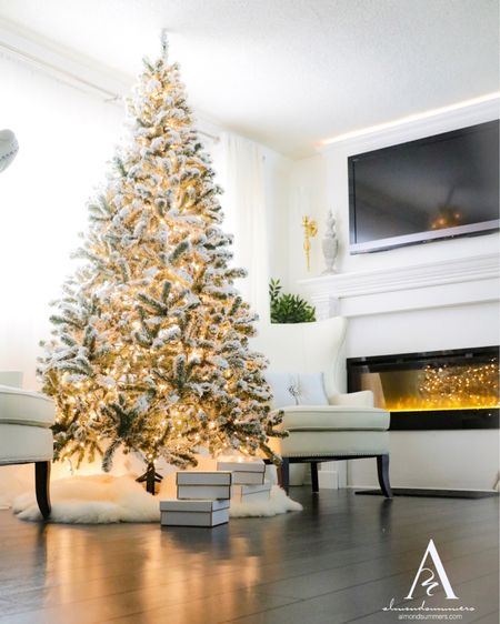 Sharing my flocked snow King of Christmas flocked Christmas tree. It's an 8 foot tree that looks so chic in any space. This has been a part of my holiday Christmas decor for 3 years. 🎄 Watch my Christmas tree decorating tutorial videos on YouTube. Full of elegance.   #LTKhome #LTKfamily #StayHomeWithLTK @liketoknow.it.home #liketkit Follow me on the LIKEtoKNOW.it shopping app to get the product details for this look and others @liketoknow.it http://liketk.it/30PLG