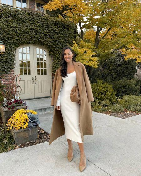 Cream dress and camel coat. #camelcoat #mididress