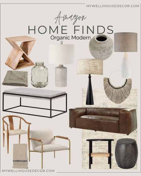 Amazon Home Finds- Organic Modern! I must admit this is my favorite design style because it is masculine, stylish and timeless. Rich, deep and dark room colors will always be classic.   Coffee table, lamp, rugs, chairs, home accents, home decor, end tables, drink table  #LTKhome #LTKsalealert