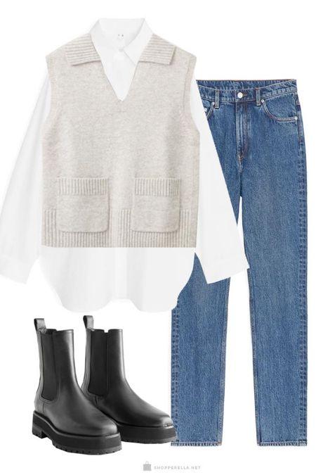 Minimalist wardrobe | oversized shirt | kni vest | boots | jeans | basics http://liketk.it/35krQ @liketoknow.it #liketkit #StayHomeWithLTK #LTKstyletip #LTKunder100