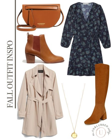 Fun floral fall outfit idea for her featuring a gorgeous dress, trench, boots and bag!   #LTKunder100 #LTKFall #LTKstyletip