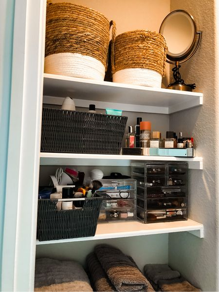 Home organization, storage baskets, Walmart home, makeup organization,   #LTKunder100 #LTKhome