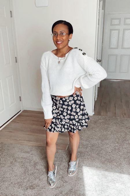 ☀️Summer to Fall🍂 #falloutfit #fall #sweater #dress #black #blackdress #oxfords #dsw #floraldress #floral #midi #mididress #walmart #target #dsw #fallfinds #endofsummer #white #cream #neautral #style #ootd  #LTKunder50 #LTKstyletip #LTKSeasonal