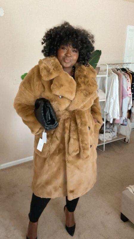 #Nsale find look ft belted faux fur coat size xxl , padded T-shirt size 1X,  good American coated straight leg jeans size 18 #Plussize #LTKFall #LTKVideo   #LTKstyletip #LTKsalealert #LTKcurves