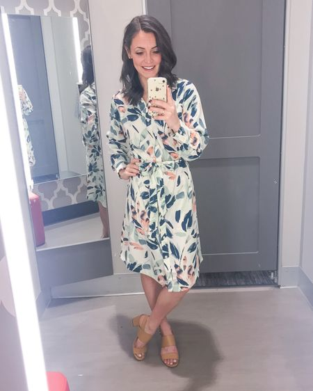 This long sleeve floral print shirtdress has spring written all over it!! I love the salmon, coral and teal colors throughout. Dress comes with a coordinating tie waist but you could easy swap for your own belt. Dress is also available in a pink/white print and a black floral print. Runs TTS and just $28.  Shirtdress: XS Heels: 6   http://liketk.it/2L28t #liketkit @liketoknow.it #LTKshoecrush #LTKspring #LTKstyletip