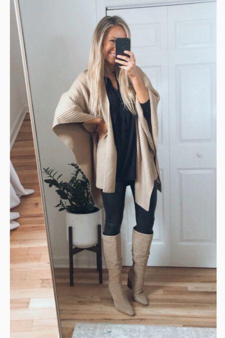 Nsale outfit Nsale Vince sweater Nsale Free People tunic Spanx faux leather leggings knee high boots   #LTKstyletip #LTKshoecrush #LTKsalealert