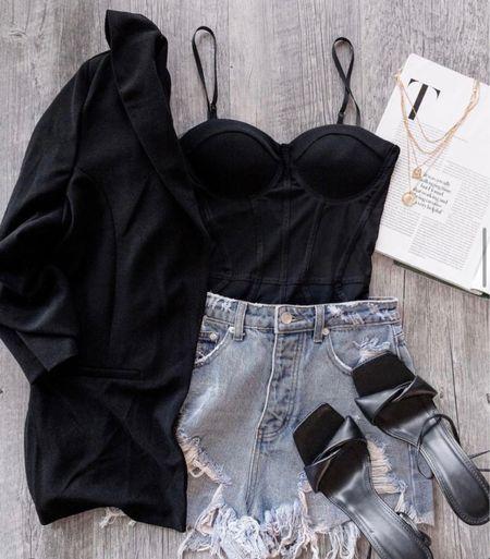 Outfit inspo, bodysuit, black bodysuit, sandals, black sandals, shacket, summer outfits, fall outfits, high heels, black shirt, black blouse   #LTKunder100 #LTKstyletip #LTKsalealert