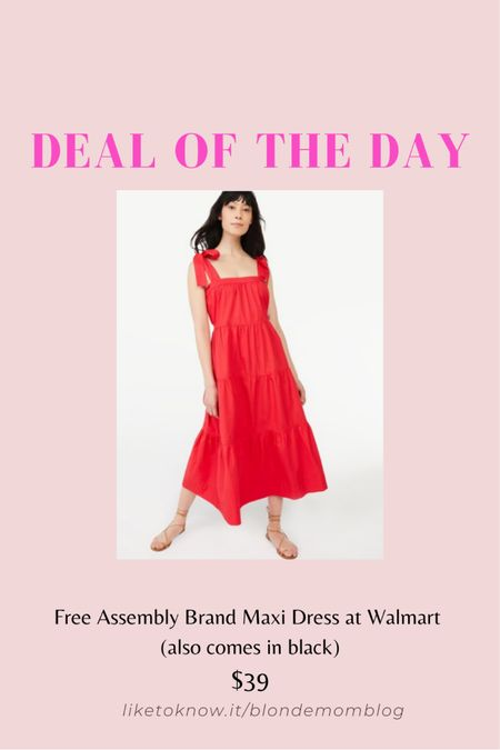 This red maxi dress would be perfect for Memorial Day weekend or July 4th! Also comes in black.  #maxidress #maxi #sundress #summerdress #summer #red #july4 #july4th #walmartfinds #walmartfashion #fashionafter50  #LTKSeasonal #LTKunder50 #LTKtravel