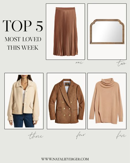 Reader favorites from this week! Pleated skirt is almost sold out, so I linked a similar option in case you love the style and can't grab it in your size. Sherpa jacket runs large, size down at least one size.