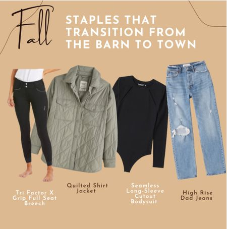 Shacket  Dad jeans Abercrombie  Equestrian style From the barn to town Ariat breeches Black athletic top Fall outfit  Back to school   #LTKSeasonal #LTKbacktoschool #LTKfit