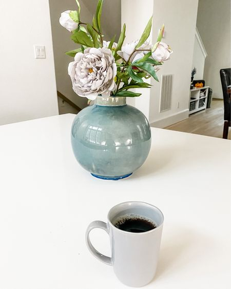 Kitchen home decor / big blue vase / gray coffee mug / kitchen island / flowers from hobby lobby    #LTKunder50 #LTKhome #LTKunder100