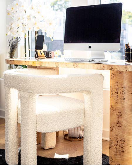 Burlwood + Boucle y'all 🤩 My full home office reveal is on lushtoblush.com ✨🖥 link in bio!  Photo by @ryanaaronphoto  #homeofficedecor #workfromhomelife #whitehomedecor #homedecorideas #transitionaldesign #modernluxury #interiorsofinstagram #wfhlife #burlwood #boucle #bouclé #ltkhome   #LTKhome #LTKstyletip