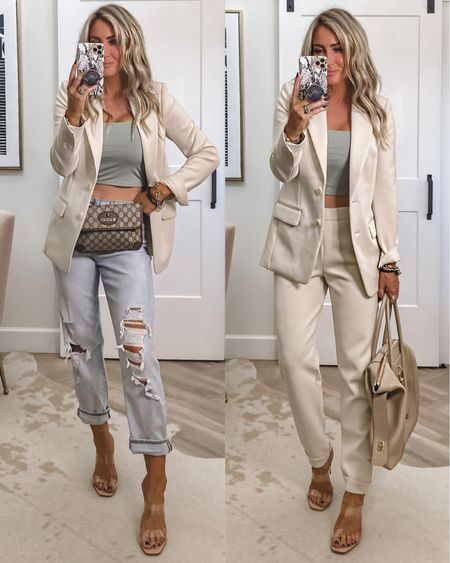 Express try on  this blazer feels so high end and amazing Sz xs Tank Sz small Jeans sz 4  Joggers to match jacket Sz small needed xs they run big  Weekend to office outfit ideas   #LTKunder100 #LTKitbag #LTKstyletip