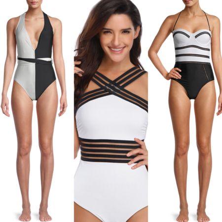 http://liketk.it/3hRCr #liketkit @liketoknow.it #LTKsalealert #LTKstyletip #LTKunder50 one piece swimsuit; black & white swimsuit, women's swim