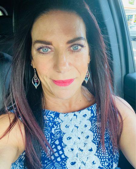 Weekend vibes! #LTKbeauty #LTKunder100 #LTKsalealert http://liketk.it/3g3zL #liketkit @liketoknow.it    Summer makeup  Chandelier earrings  Colorful dress Over 50