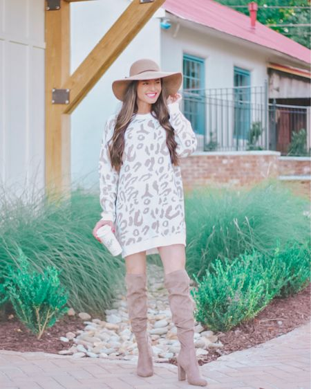I think snow leopard may be my new favorite animal print ❄️ Also, this is a secret, but - this is a tunic sweater not a dress! I am 5'6 for reference and it's a great length with otk books or would be cute with jeans and booties too! 👢You can instantly shop my looks by following me - kristintiffiny - on the free LIKEtoKNOW.it shopping app or by visiting http://liketk.it/2FI4w @liketoknow.it #liketkit #LTKshoecrush #LTKstyletip #LTKunder50