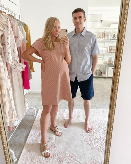 His and her outfit from Walmart! Wearing all free assembly and can't get over these prices for the quality.   Dress is a thicker t shirt dress material and the length is great for a casual work environment. Wearing a medium (sized up for the bump) but would recommend your normal size.   #walmartfinds #freeassembly #couplesoutfit   Tim: medium in the top and bottoms (31 inch waist)    http://liketk.it/3hW54 #liketkit @liketoknow.it #LTKbump