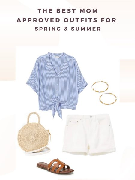 The best mom approved outfits for spring and summer. How to style White denim shorts. http://liketk.it/2OxD6 #liketkit @liketoknow.it