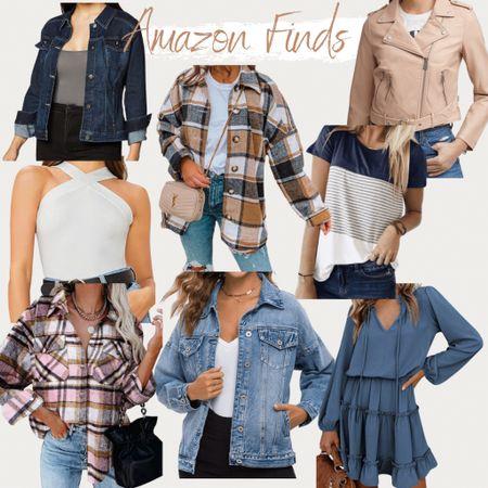 Amazon Fashion, Fall style, fall outfit, fall fashion, outerwear, faux leather jacket, moto jacket, flannel, long sleeve dress, dresses, fall dresses, jean jacket, denim jacket, t-shirts, casual style, casual outfit, flannel, oversized flannel, boyfriend flannel, flannel outfit, flannel style, levis, wrangler   #LTKunder50 #LTKunder100 #LTKworkwear