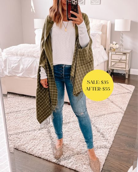 Plaid scarf that switches to a cape as well! Love the olive green color for fall time 🍁  #LTKunder50 #LTKsalealert #LTKstyletip