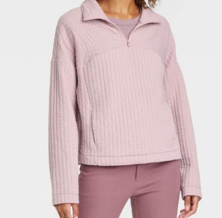 Quilted lilac hag zip pullover