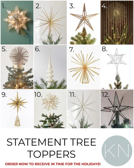 Statement tree toppers — order now to receive in time for the holidays! Home decor Christmas decor Christmas tree topper star topper gold topper silver topper  #LTKSeasonal #LTKunder50 #LTKhome