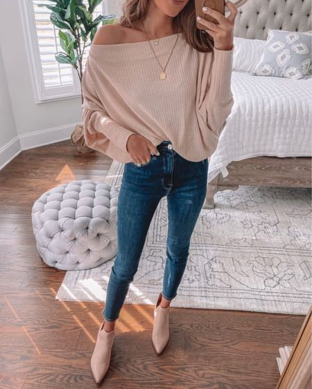 Amazon fall outfit! 🍂 Off the shoulder top, Good American denim, pendant necklace, suede booties, Amazon finds, Amazon fashion, cmcoving, Caitlin Covington, fall fashion   #LTKSeasonal #LTKunder50 #LTKunder100