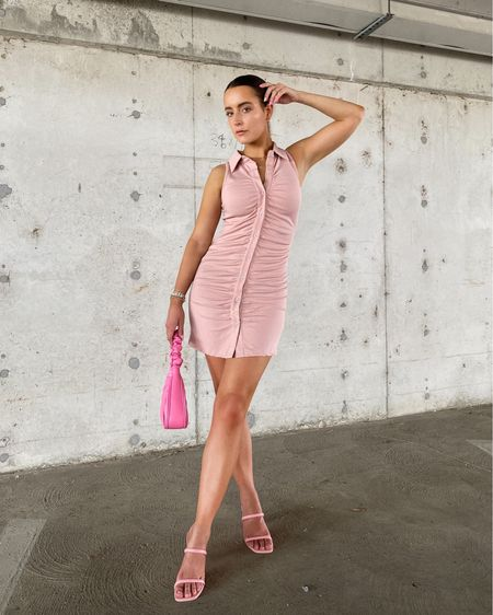 Summer 4ever ✌🏼  Ruched dress, cinch dress, with jean Andy dress, get the look for less, collar dress, ribbed dress, summer dress, pink dress, comfy pink dress, business casual, pink outfit, mini dress, pink mini dress   #LTKstyletip #LTKunder50 #LTKitbag