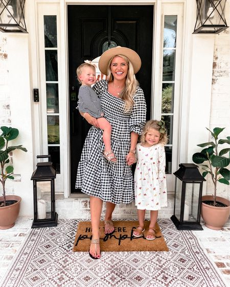 Sunday best with my little besties! 👯♀️ gingham smocked midi dress from amazon - so cute and the perfect transitional dress for fall. TTS have the medium. $28 prime.   #LTKunder50 #LTKfamily #LTKkids