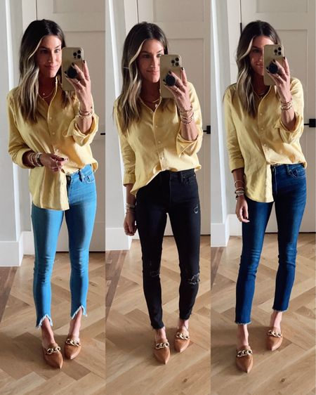 Walmart Jeans and Walmart Yellow top. True to size. Workwear. Love the fit!!   @walmart @walmartfashion #sponsored #walmartfashion  #LTKworkwear #LTKstyletip #LTKunder50