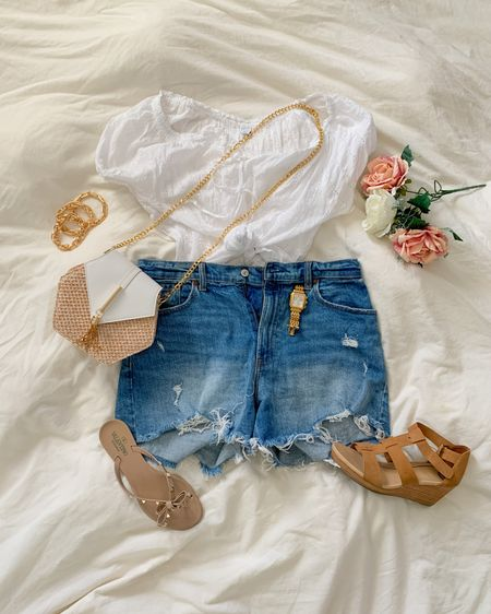Relaxing but cute summer outfit Abercrombie high waisted mom shorts with affordable old navy summer top, amazon purse and comfy wedges for flip flops! Perfect summer outfit. http://liketk.it/3gHwU #liketkit @liketoknow.it