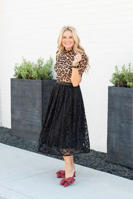 Loving this lace skirt! It's so perfect with this leopard turtleneck!! Use code FANCY15 for 15% off the skirt. My tartan plaid shoes are a total fall must!!  #LTKHoliday #LTKunder100 #LTKSeasonal