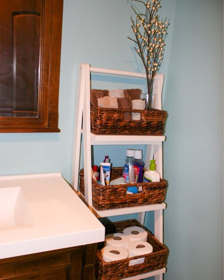 http://liketk.it/33Djs  Don't miss out on upgrading your bathroom storage.  I love my Pottery Barn Floor Storage Ladder!  I purchased the darker baskets to go with mine! #liketkit #LTKgiftspo #StayHomeWithLTK #LTKsalealert @liketoknow.it You can instantly shop my looks by following me on the LIKEtoKNOW.it shopping app