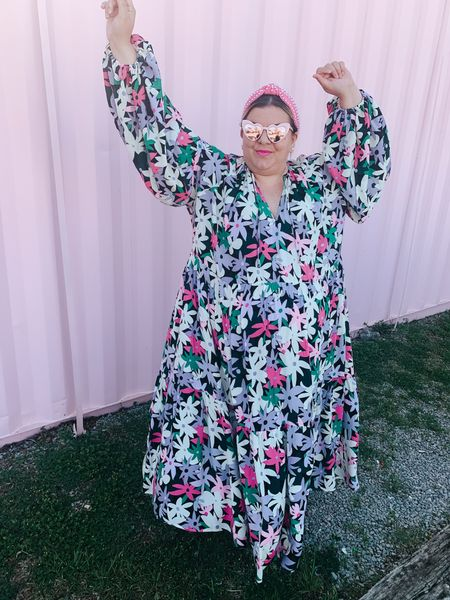 This plus size maxi dress has stolen my heart! Perfect for a summer outfit to wear as a baby shower dress or bridal shower dress! Runs big.   #LTKcurves #LTKsalealert #LTKstyletip